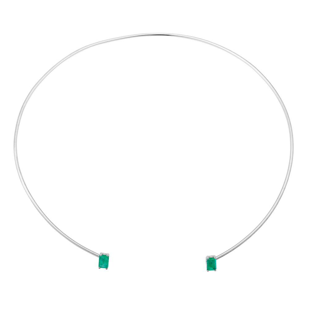 Floating Gems Open Choker Emerald Cut Emerald White Gold - FLOATING GEMS BY MKS JEWELLERY