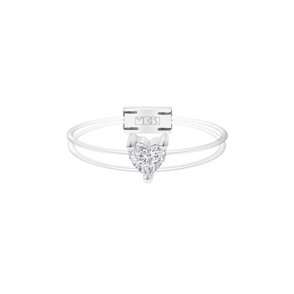 Floating Gems Sparkly Me Heart Cut Diamond Ring White Gold - FLOATING GEMS BY MKS JEWELLERY