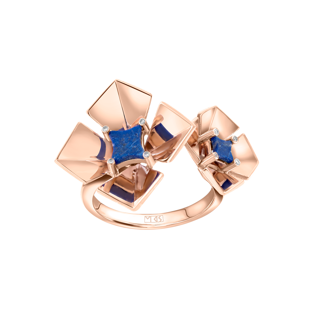 Geogami - Flowers - Bouganvillea Open Ring Lapis Lazuli - Rose Gold