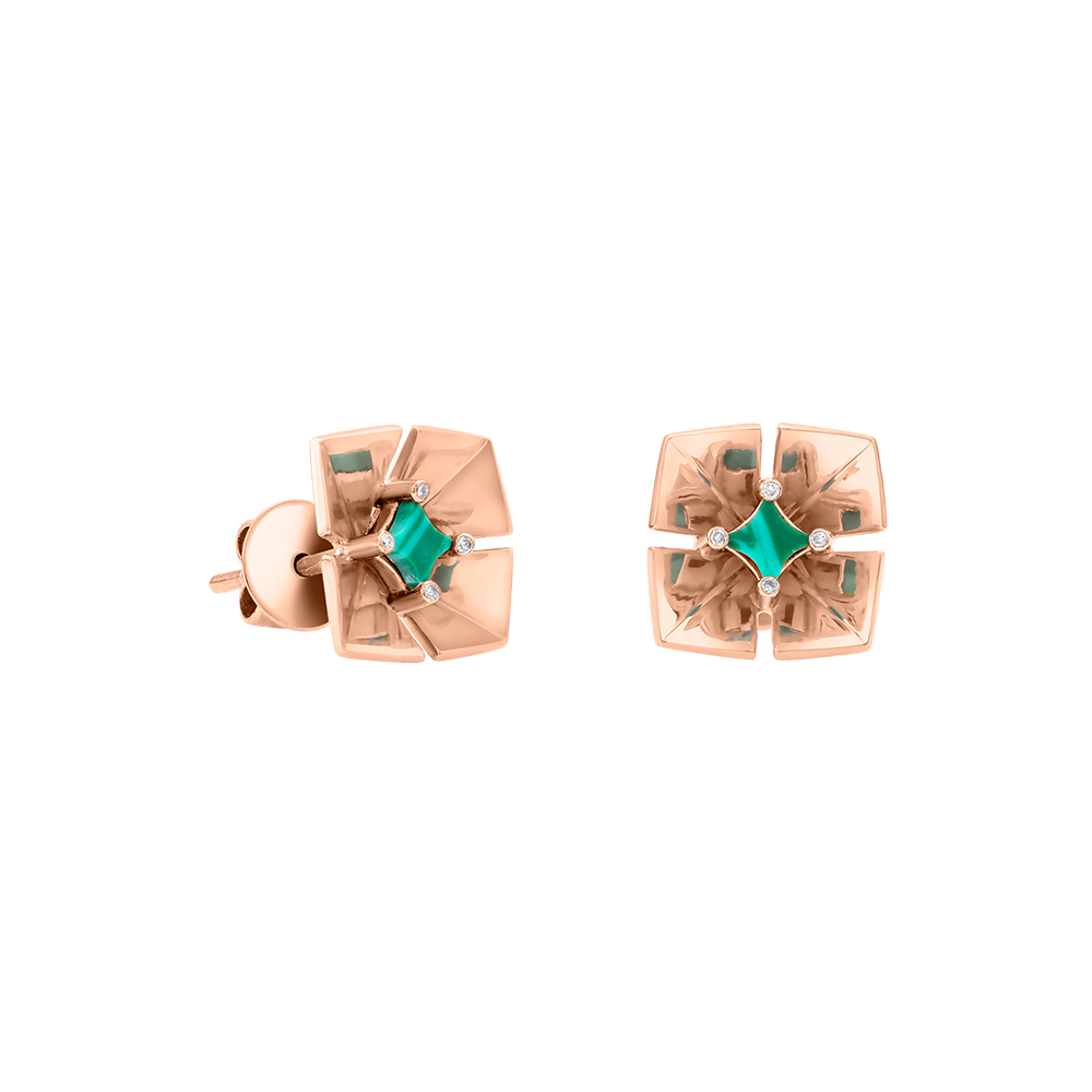 Geogami - Flowers - Bouganvillea Stud Earrings Malachite - White Gold