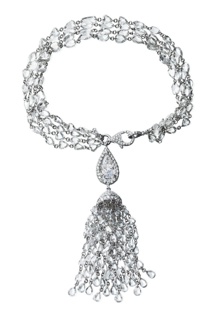 Nina Runsdorf K WG Rosecut Diamond Tassel Bracelet with Pearshape Diamond